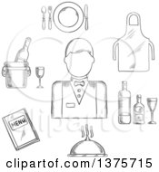 Clipart Of A Black And White Sketched Waiter Man In Uniform Bow Tie Encircled By Menu Book Apron Tray With Bottles And Glass Champagne In Ice Bucket Plate With Fork Knife And Spoon Silver Cloche Royalty Free Vector Illustration