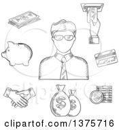 Clipart Of A Black And White Sketched Clerk In Glasses And Financial Icons Such As Money Bags Credit Card Handshake Piggy Bank Dollar Coins And Bills ATM With Hand Royalty Free Vector Illustration
