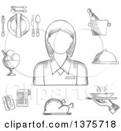 Clipart Of A Black And White Sketched Waitress In Elegant Uniform Surrounded By Dinner Set Champagne And Ice Bucket Ice Cream Sundae Fried Chicken Cloche And Restaurant Bill Royalty Free Vector Illustration