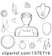 Clipart Of A Black And White Sketched Jeweler With Earrings A Ring And Pendant With Red Gems Chain Bracelets And Shining Jewels Royalty Free Vector Illustration