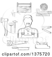 Black And White Sketched Carpenter With Tools Including Hammers Axe Nails Wooden Toolbox Handsaw Hacksaw Folding Rule Jack Plane