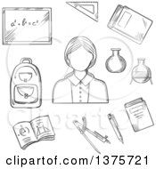 Clipart Of A Black And White Sketched Female Encircled By Blackboard With Chalk Formula Books Pen Laboratory Flasks School Bag Exercise Book With Geometric Figures Triangle Ruler Royalty Free Vector Illustration