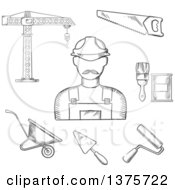Clipart Of A Black And White Sketched Builder With Tower Crane Hand Saw Trowel Paintbrush Paint Can Wheelbarrow And Paint Roller Royalty Free Vector Illustration