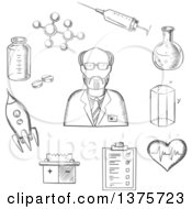Clipart Of A Gray Sketched Scientist Surrounded By Medical Biology Space Mechanic Geometry And Scientific Items Royalty Free Vector Illustration