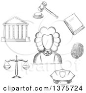 Clipart Of A Gray Sketched Judge Courthouse Law Book Fingerprint Police Cap Scales And Gavel Royalty Free Vector Illustration by Vector Tradition SM