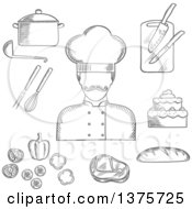 Clipart Of A Grayscale Sketched Chef With Bread Beef Steak Pot With Ladle Tiered Cake Sliced Fresh Vegetables Chopping Board With Knives Whisk And Fork Royalty Free Vector Illustration