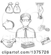 Poster, Art Print Of Grayscale Sketched Businessman And Financial Icons With Money Bags Atm Credit Card Handshake Piggy Bank Dollar Coins And Bills