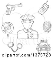 Clipart Of A Grayscale Sketched Policeman Surrounded By Car Portable Radio Transceiver Fingerprint Handcuffs Gun And Speed Limit Sign Royalty Free Vector Illustration