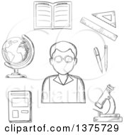 Clipart Of A Grayscale Sketched Teacher Surrounded By A Notebook And Pen Ruler Book Open Classwork Microscope And Globe Royalty Free Vector Illustration by Vector Tradition SM