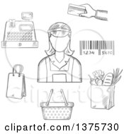 Clipart Of A Grayscale Sketched Bag Cash Register Credit Card Payment Bar Code And Groceries Around A Female Cashier Royalty Free Vector Illustration