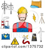Clipart Of A Sketched Electric Station Hydro And Wind Energy Nuclear Power Plant Power Lines And Pylon Battery And Danger Warning Sign With Professional Electrician Royalty Free Vector Illustration