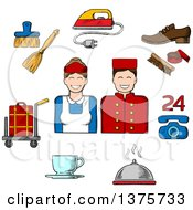 Clipart Of A Sketched Bell Boy Maid And Composition Of Room Services Icons With Luggage Iron Shoe Cleaning Telephone Food Delivery Coffee And Cleaning Royalty Free Vector Illustration by Vector Tradition SM