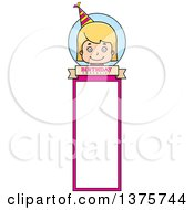 Clipart Of A Blond White Birthday Girl Bookmark Royalty Free Vector Illustration by Cory Thoman