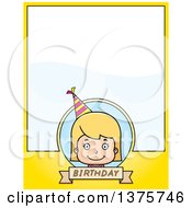 Clipart Of A Blond White Birthday Girl Page Border Royalty Free Vector Illustration by Cory Thoman