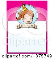 Clipart Of A Brunette White Birthday Girl Page Border Royalty Free Vector Illustration by Cory Thoman