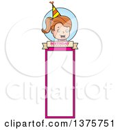 Clipart Of A Brunette White Birthday Girl Bookmark Royalty Free Vector Illustration by Cory Thoman
