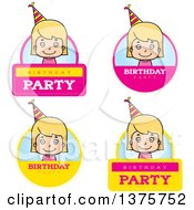 Clipart Of Badges Of A Blond White Birthday Girl Royalty Free Vector Illustration by Cory Thoman