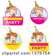 Clipart Of Badges Of A Brunette White Birthday Girl Royalty Free Vector Illustration by Cory Thoman