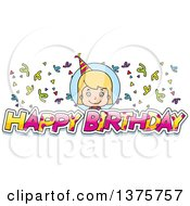 Clipart Of A Blond White Birthday Girl Royalty Free Vector Illustration