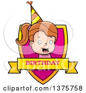Clipart Of A Brunette White Birthday Girl Shield Royalty Free Vector Illustration by Cory Thoman