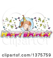 Clipart Of A Brunette White Birthday Girl Royalty Free Vector Illustration