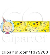 Clipart Of A Blond White Birthday Girl Banner Royalty Free Vector Illustration by Cory Thoman