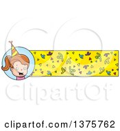 Clipart Of A Brunette White Birthday Girl Banner Royalty Free Vector Illustration by Cory Thoman