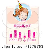 Clipart Of A Brunette White Birthday Girl Schedule Design Royalty Free Vector Illustration by Cory Thoman