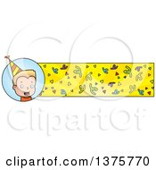 Clipart Of A Blond White Birthday Boy Banner Royalty Free Vector Illustration