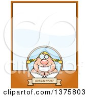 Clipart Of A Happy Oktoberfest German Woman Page Border Royalty Free Vector Illustration