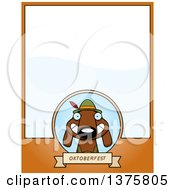Poster, Art Print Of German Oktoberfest Dachshund Dog Wearing Lederhosen Page Border