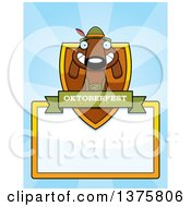 German Oktoberfest Dachshund Dog Wearing Lederhosen Page Border