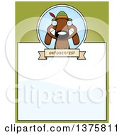 Clipart Of A German Oktoberfest Dachshund Dog Wearing Lederhosen Page Border Royalty Free Vector Illustration