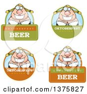 Clipart Of Badges Of A Happy Oktoberfest German Woman Royalty Free Vector Illustration