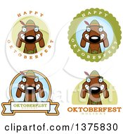 Clipart Of Badges Of A German Oktoberfest Dachshund Dog Wearing Lederhosen Royalty Free Vector Illustration