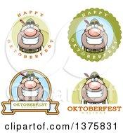 Clipart Of Badges Of A Happy Oktoberfest German Man Royalty Free Vector Illustration