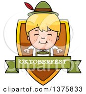 Clipart Of A Happy Blond Oktoberfest German Boy Shield Royalty Free Vector Illustration by Cory Thoman