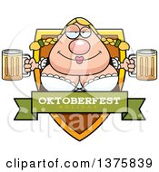 Clipart Of A Happy Oktoberfest German Woman Shield Royalty Free Vector Illustration by Cory Thoman