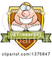 Clipart Of A Happy Oktoberfest German Woman Shield Royalty Free Vector Illustration