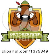 Clipart Of A German Oktoberfest Dachshund Dog Wearing Lederhosen Shield Royalty Free Vector Illustration
