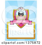 Clipart Of A Happy Easter Egg Mascot Page Border Royalty Free Vector Illustration by Cory Thoman