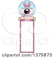 Clipart Of A Pink Easter Bunny Bookmark Royalty Free Vector Illustration