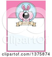 Clipart Of A Pink Easter Bunny Page Border Royalty Free Vector Illustration