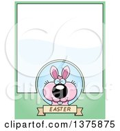 Clipart Of A Pink Easter Bunny Page Border Royalty Free Vector Illustration by Cory Thoman