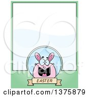 Clipart Of A Chubby Pink Easter Bunny Page Border Royalty Free Vector Illustration