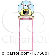 Clipart Of A Happy Easter Chick With Bunny Ears Bookmark Royalty Free Vector Illustration by Cory Thoman