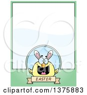 Poster, Art Print Of Happy Easter Chick With Bunny Ears Page Border