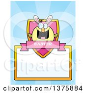 Clipart Of A Happy Easter Chick With Bunny Ears Page Border Royalty Free Vector Illustration