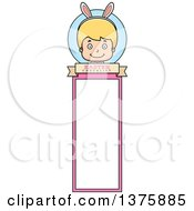 Clipart Of A Blond White Easter Boy Wearing Bunny Ears Bookmark Royalty Free Vector Illustration