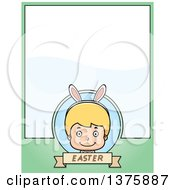Clipart Of A Blond White Easter Boy Wearing Bunny Ears Page Border Royalty Free Vector Illustration